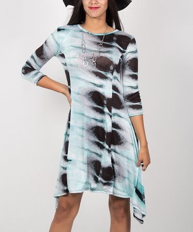$9.99 marked down from $45! Turquoise Tie-Dye Sidetail Dress #turquoise #tiedye #dress #zulilyfinds