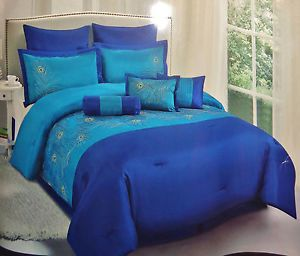 9pc EMBROIDERED IRIDESCENCE TEAL BLUE PEACOCK COMFORTER SET KING