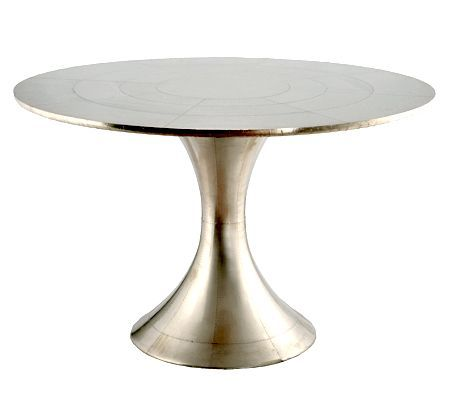 Silver Foiled Dining Table Materials Finished In Glossy