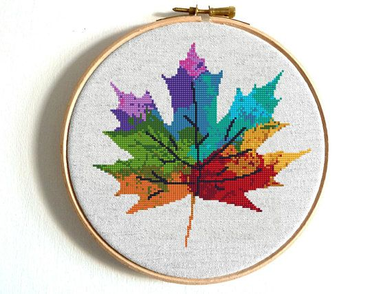 Four Seasons Cross stitch pattern Watercolor Art Rainbow cross stitch Tree Counted cross stitch Modern Embroidery Hoop Art Silhouette leaves – etamin