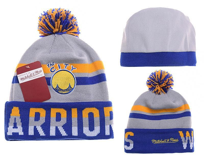 Mens   Womens Golden State Warriors Mitchell   Ness NBA Trifecta Cuffed  Knit Beanie Hat With Pom - Grey   Gold   Blue 5526a14e11a4
