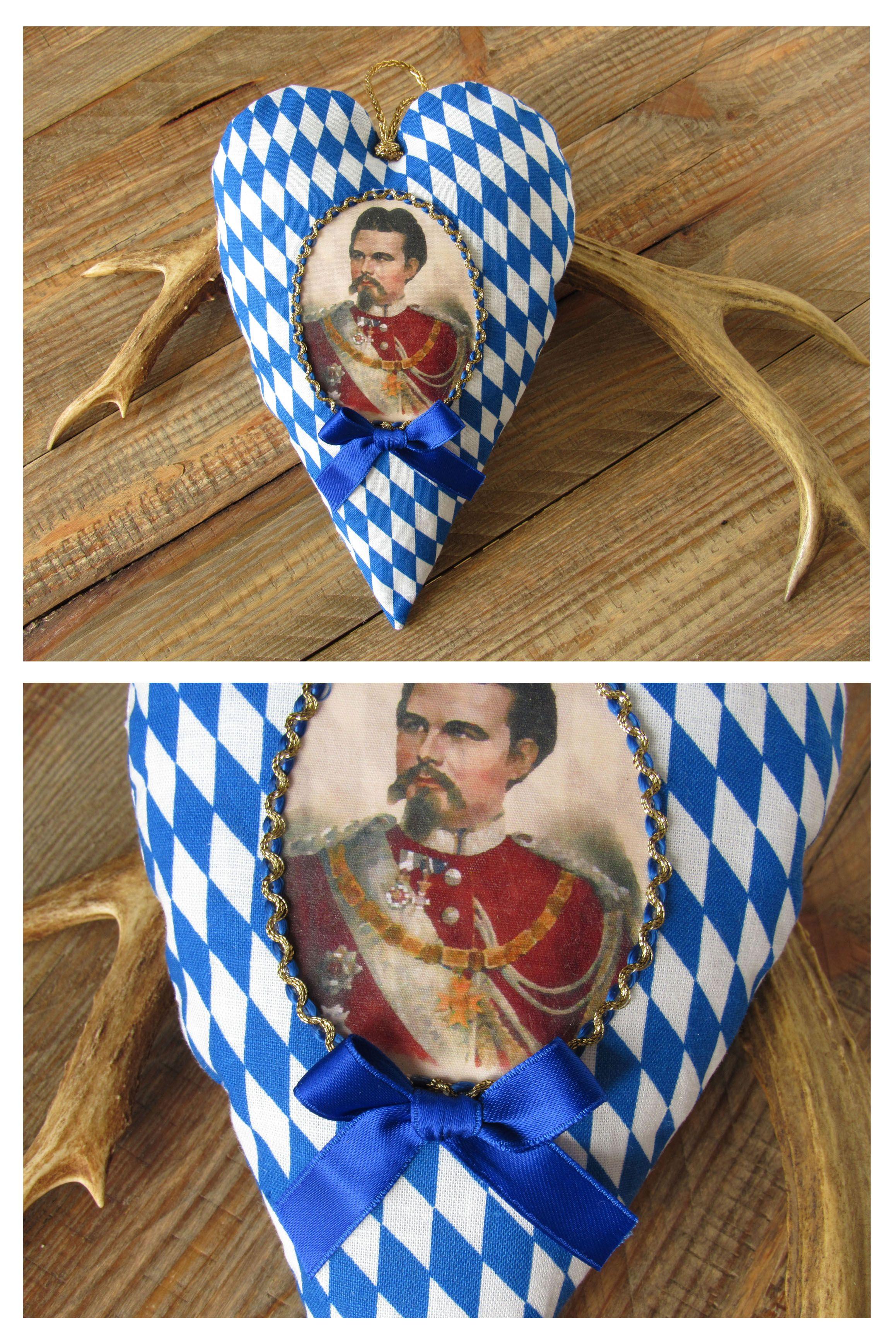 heart hanger Bavarian diamond blue white portrait of King Ludwig II ...