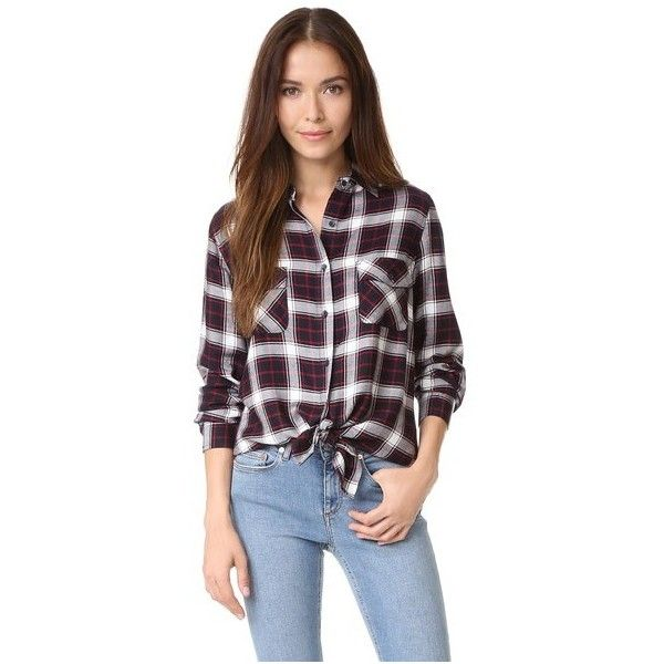 BB Dakota Hardwood Garment Washed Plaid Shirt ($80) ❤ liked on Polyvore featuring tops, navy, long sleeve tops, navy blue collared shirt, navy tops, navy blue top and rayon shirts