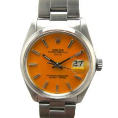 "Rolex Oyster Perpetual Date Custom ""Mandarin Orange"" dial"
