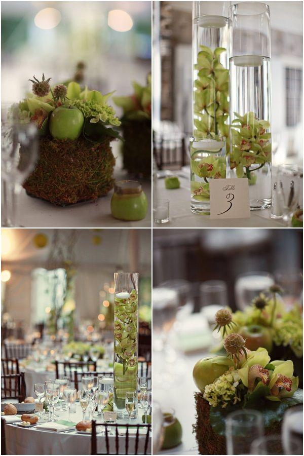 Apple green, tall center pieces with apple tea light candles around the base @Katie Zande