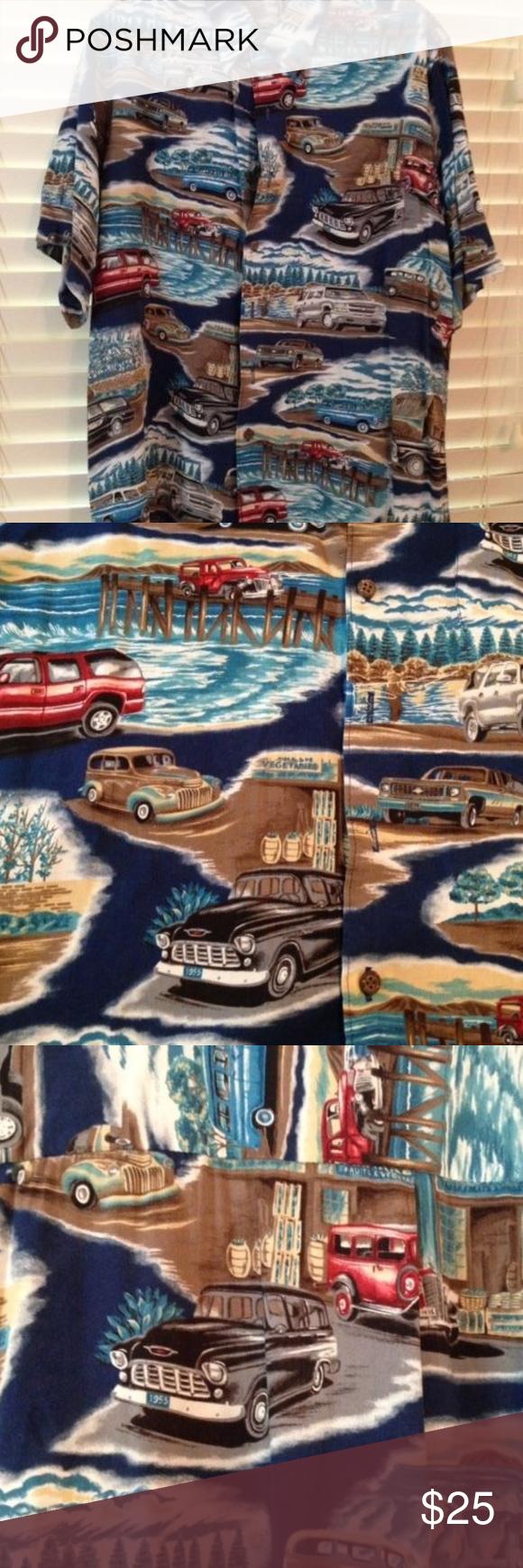 Vintage Reyn Spooner Hawaiian Chevy Print Sz L (With