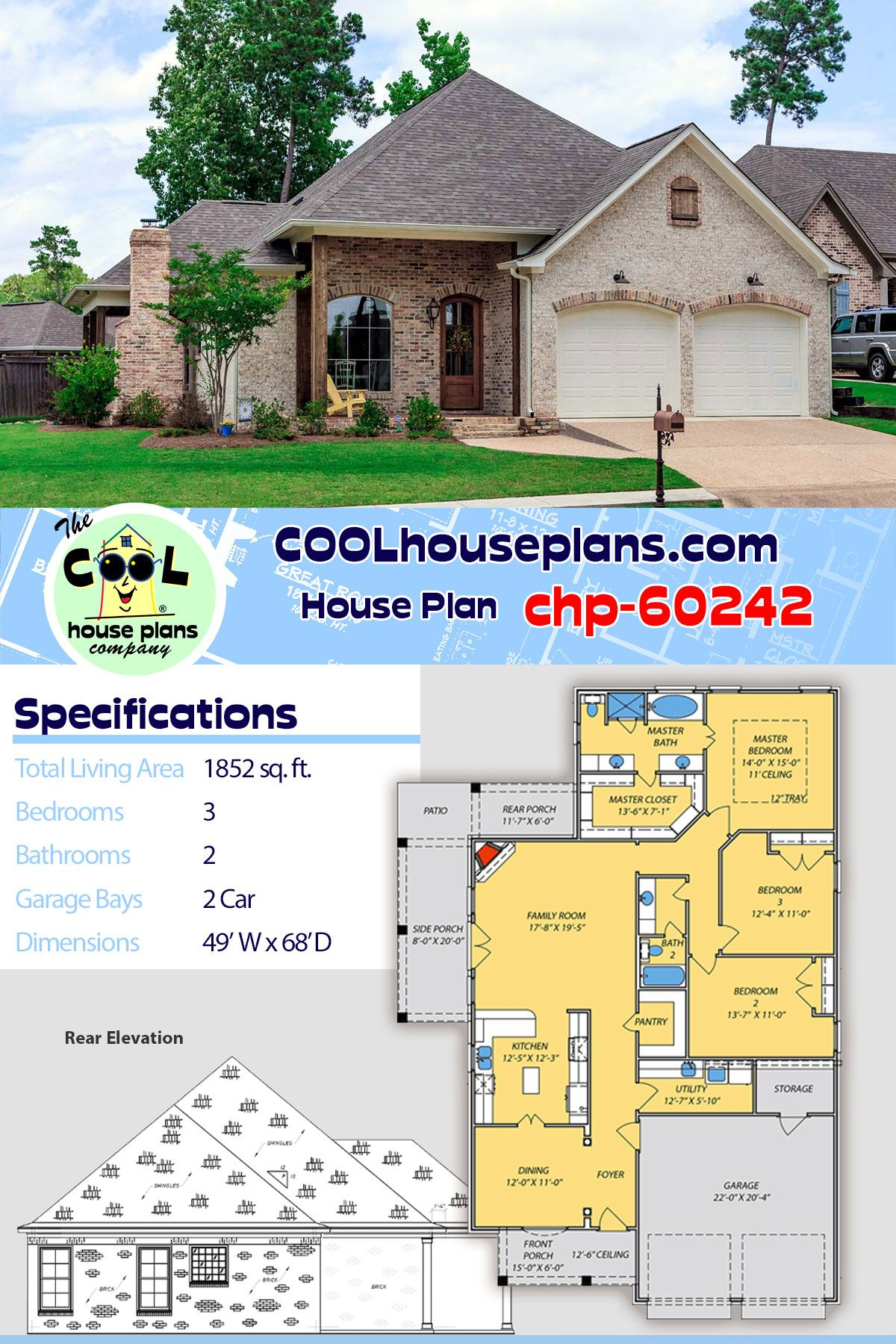 house plan chp 60242 in 2020 house plans acadian house