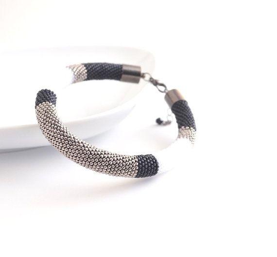 Silver Black Bangle Beaded Bracelet Color Block By