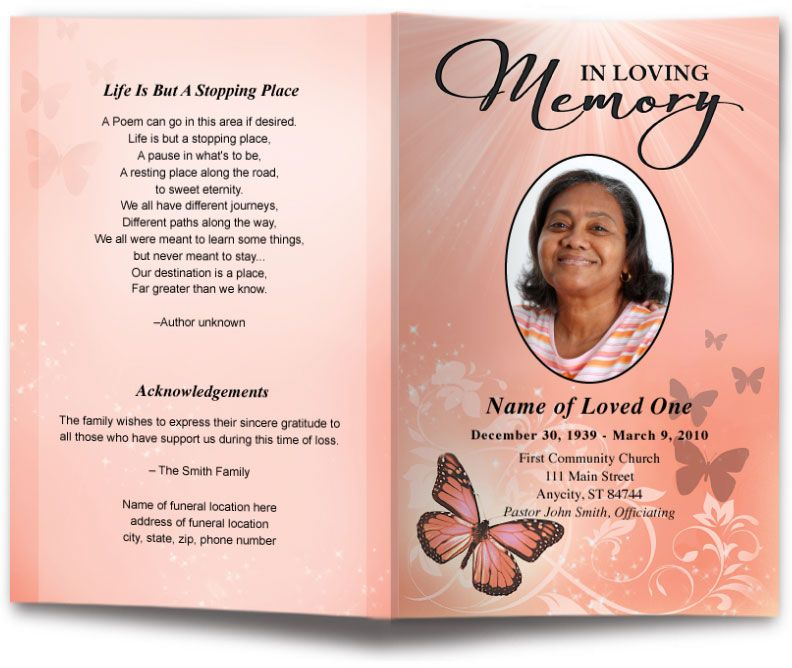 Butterfly Design Funeral Program Template  Funeral Programs