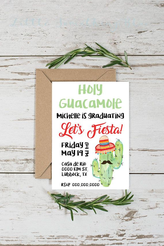 Fiesta Graduation Party Invitation // Holy Guacamole // Fiesta // Taco 'bout a party // 5x7 // Digital Download // Printable #graduationparties