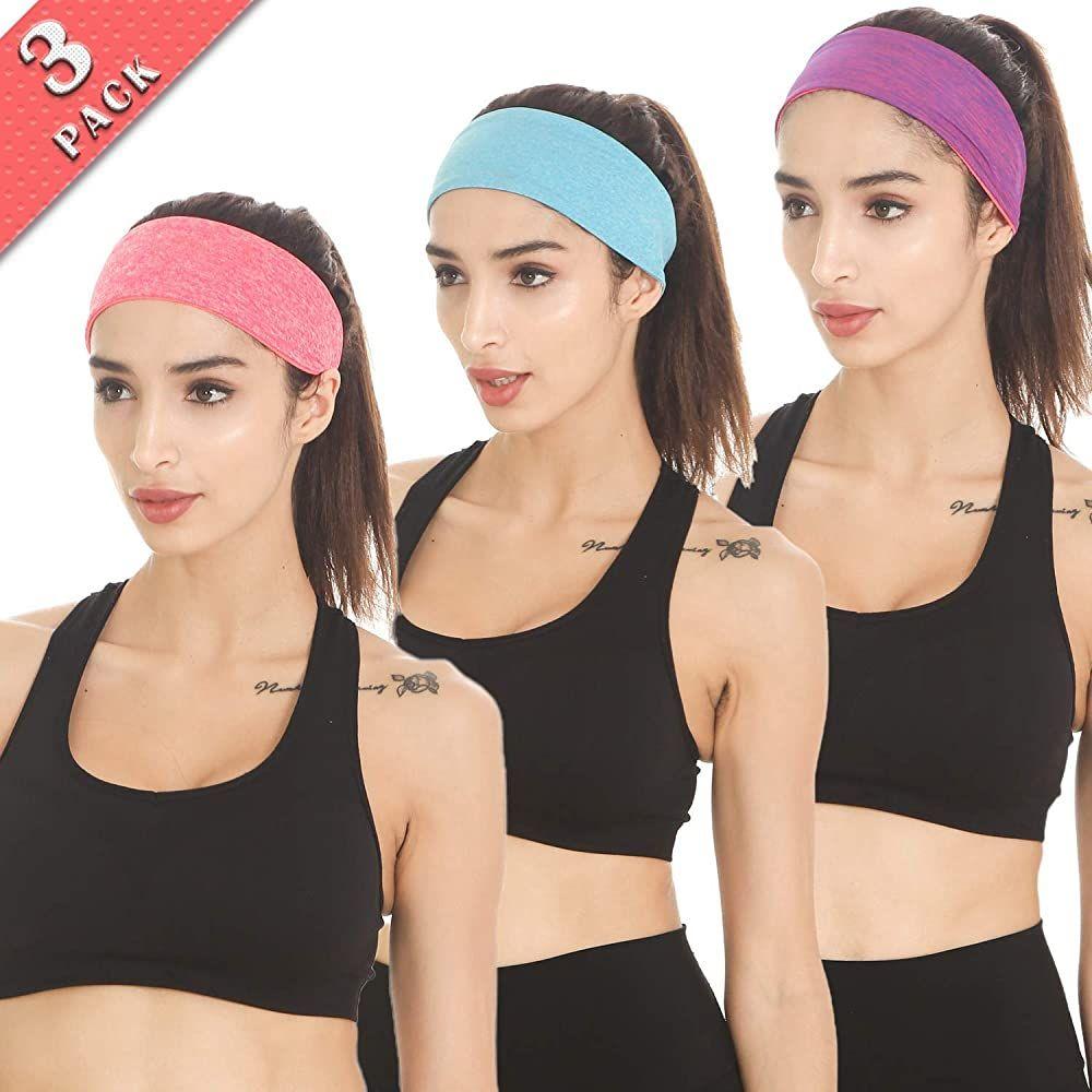 Headbands Sport Antiperspirant Headbands for Running Fitness Yoga Cycling Hiking Elastic Sweat Wicking Non Slip 3 Pack Sweat Workout Headbands