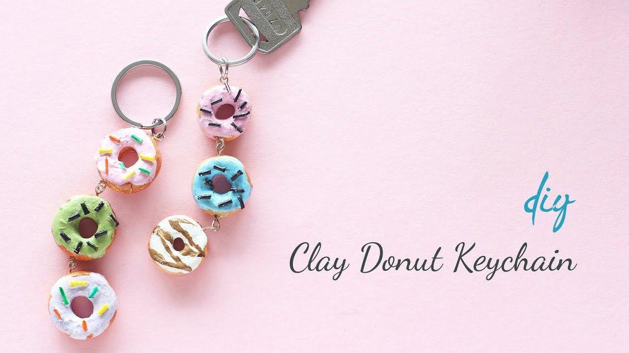 Diy Clay Donut Keychain Clay Keychain Clay Keychain Diy Clay Keychain