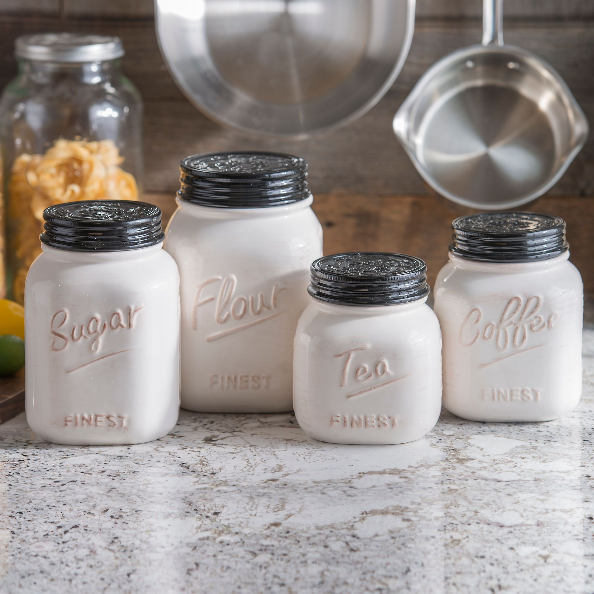 ivory and black kitchen canisters set of 4 kitchen canisters ivory and black kitchen canisters set of 4