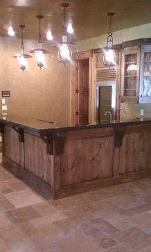 Rustic L Shaped Bar Basement Design Ideas, Pictures, Remodel And Decor