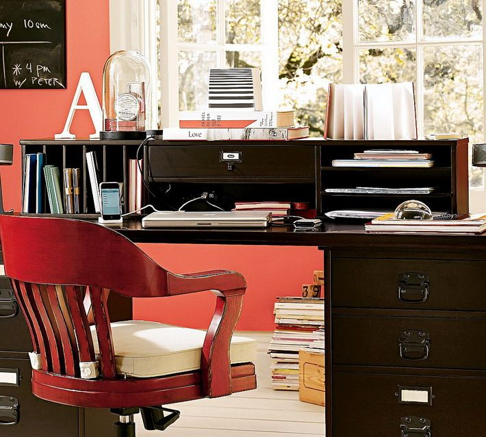 Black Desk And Red Chair In Small Home