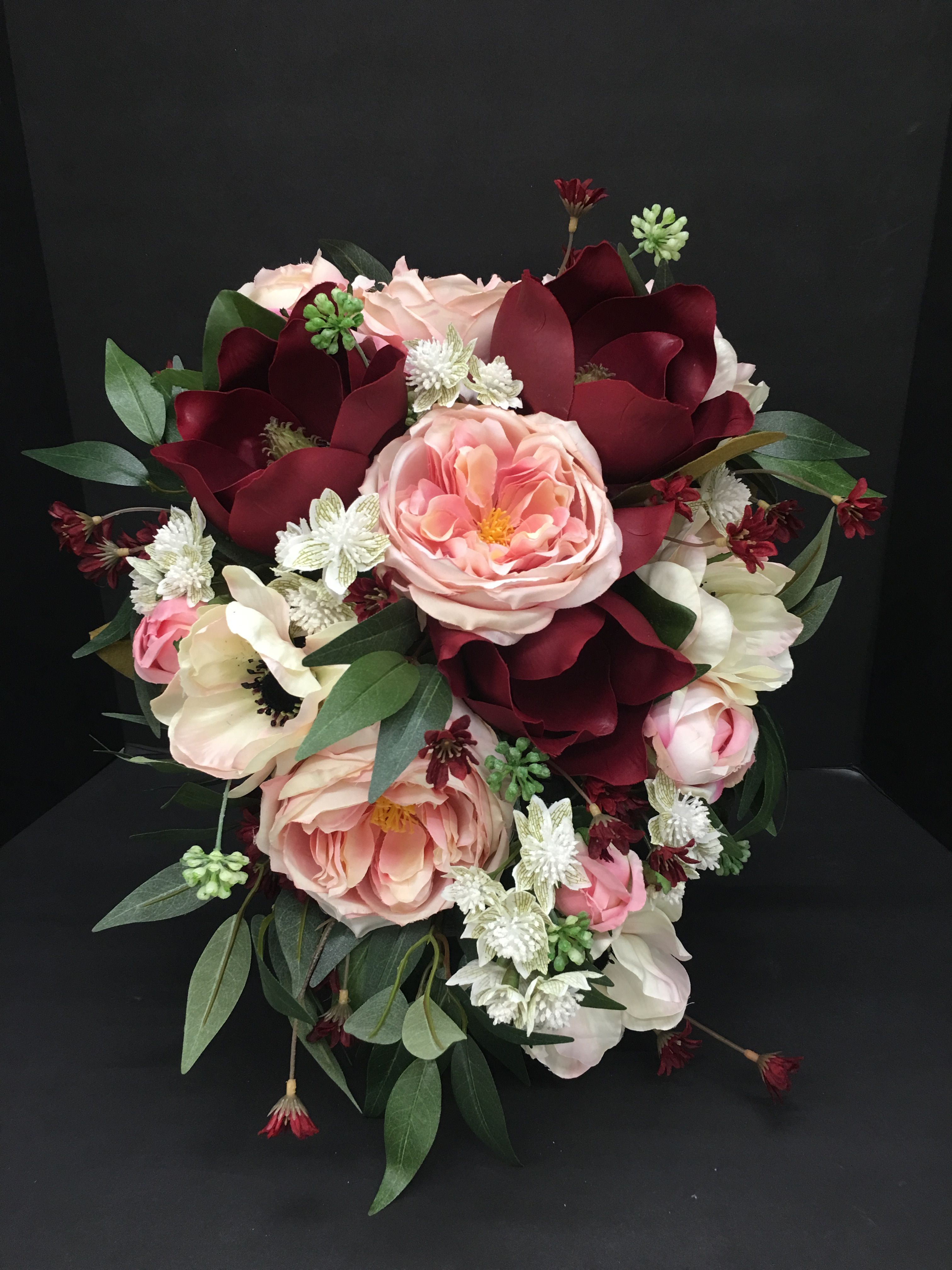 Mulberry Bridal Bouquet Maroon Pink White Anemone Flowers