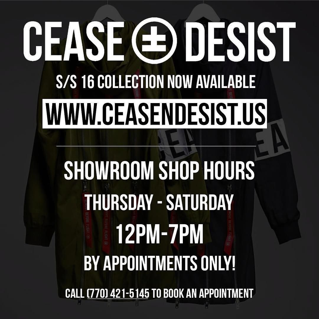 The @ceaseanddesist.us showroom is now open for appointments. Come through and check out the collection in person I guarantee you will be impressed and will walk out with a positive purchase.