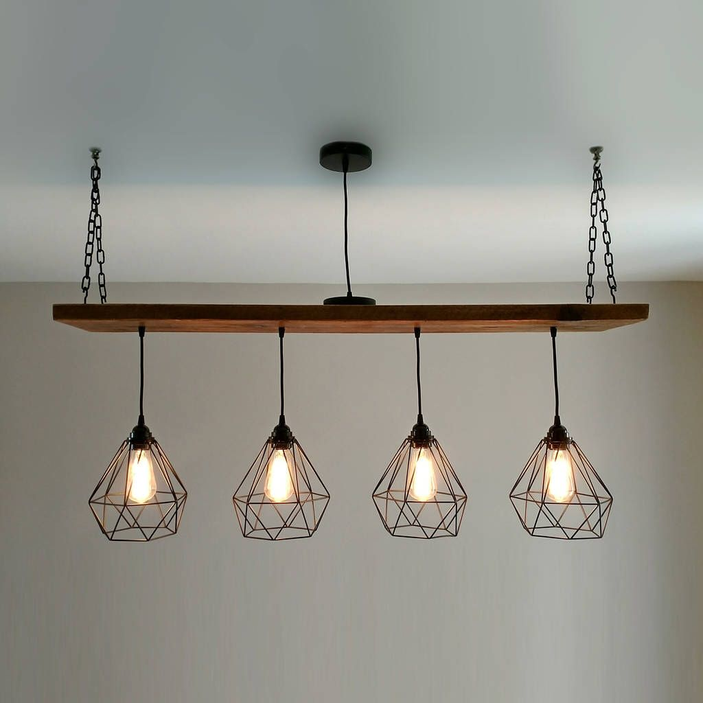 Solid Wood Beam Multi Industrial Light Oak Style
