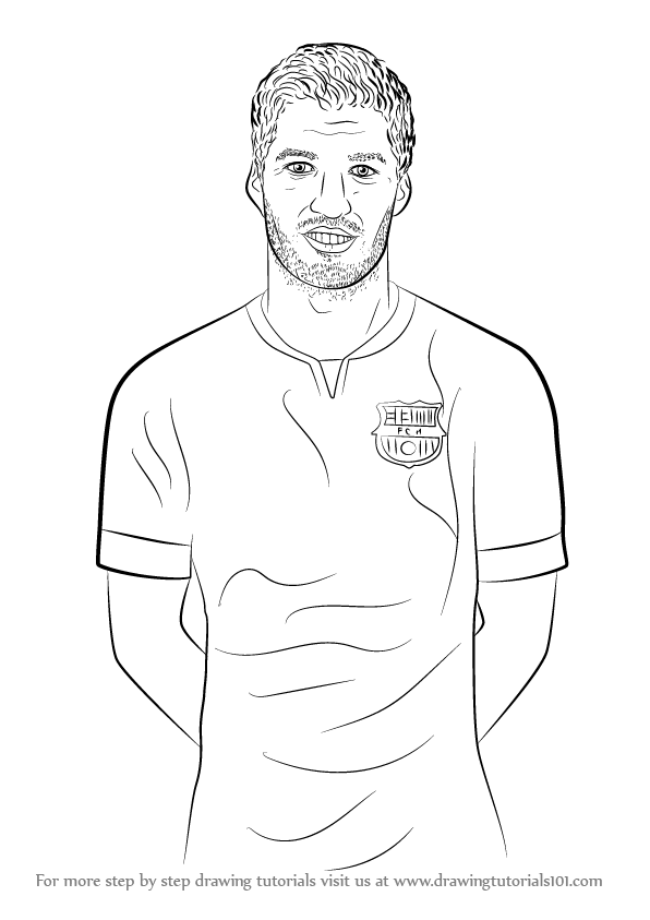 Learn how to draw luis suarez footballers step by step drawing tutorials