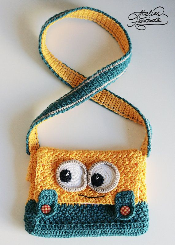 Crochet PATTERN - yellow and blue Purse - PDF FILE #minioncrochetpatterns