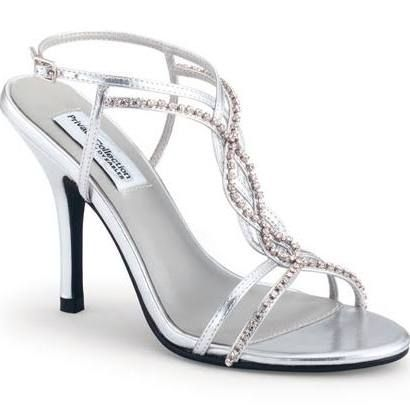 silver crystal strappy striking heels  homecoming shoes