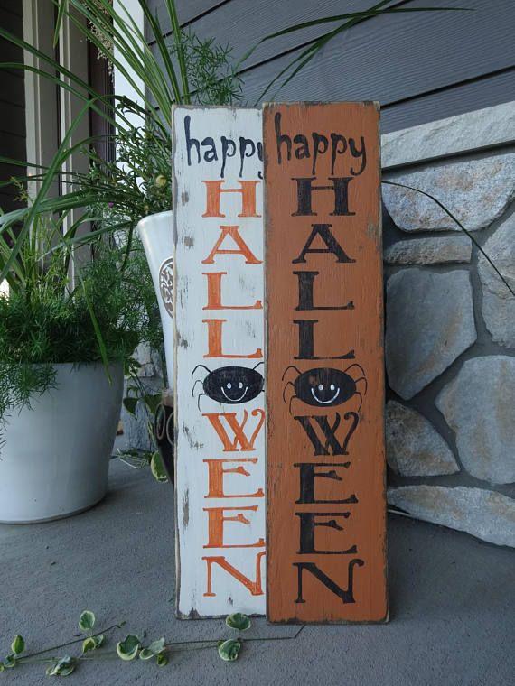 Happy Halloween sign 6x26 vertical Halloween sign/ Halloween decor - front porch halloween decorations