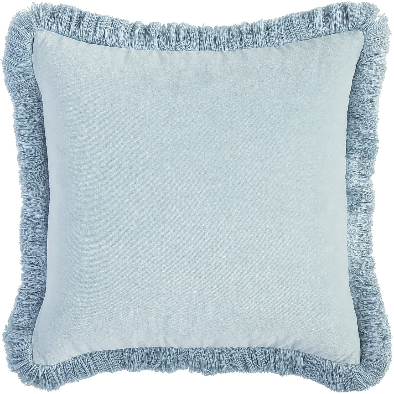 Velvet Dupioni Fringe Pillow Smoke Blue Bedding