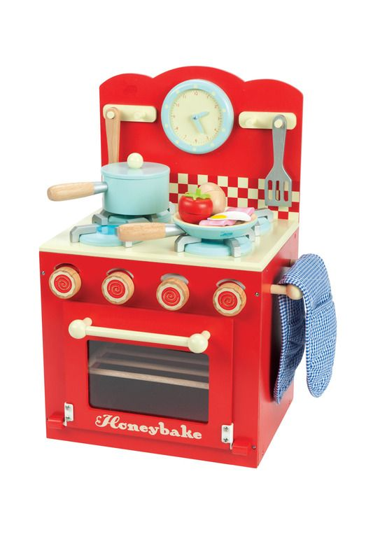 Le Toy Van Kids Wooden Kitchen Toys Oven And Hob Set Red