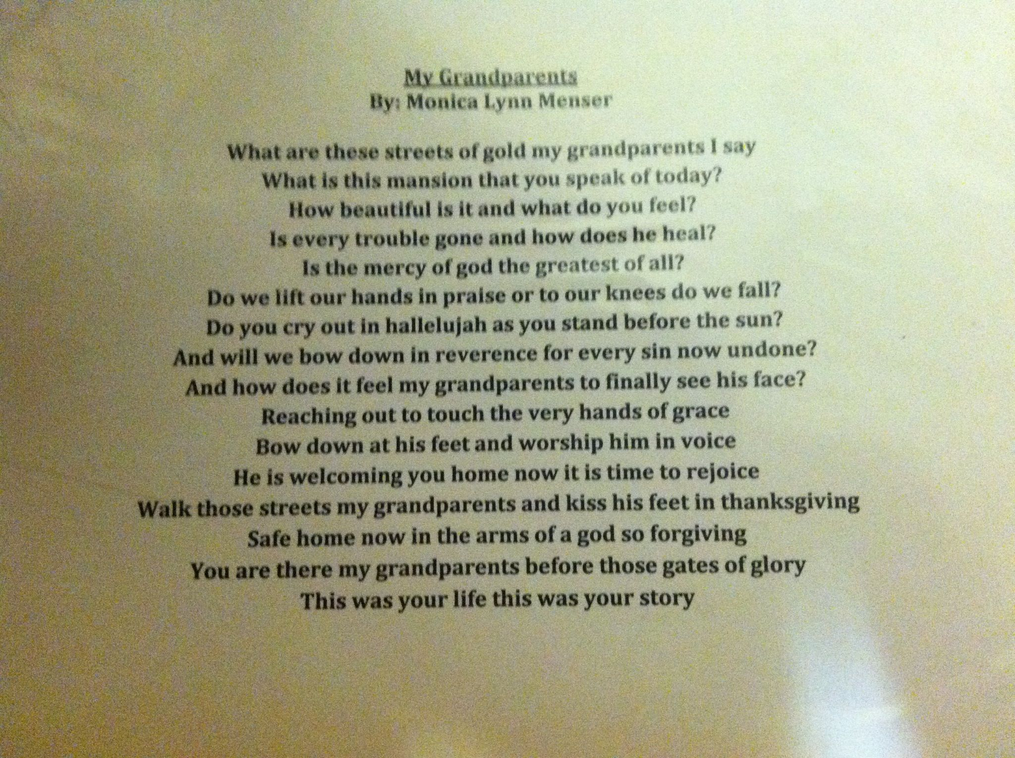 I Love My Grandpa Quotes Poem I Wrote For Both My Grandpa And Grandma's Funeralsthey