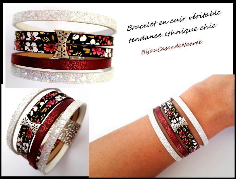 Bijou cuir bracelet manchette cuir bohème chic bordeaux blanc noir fermoir magnétique leather