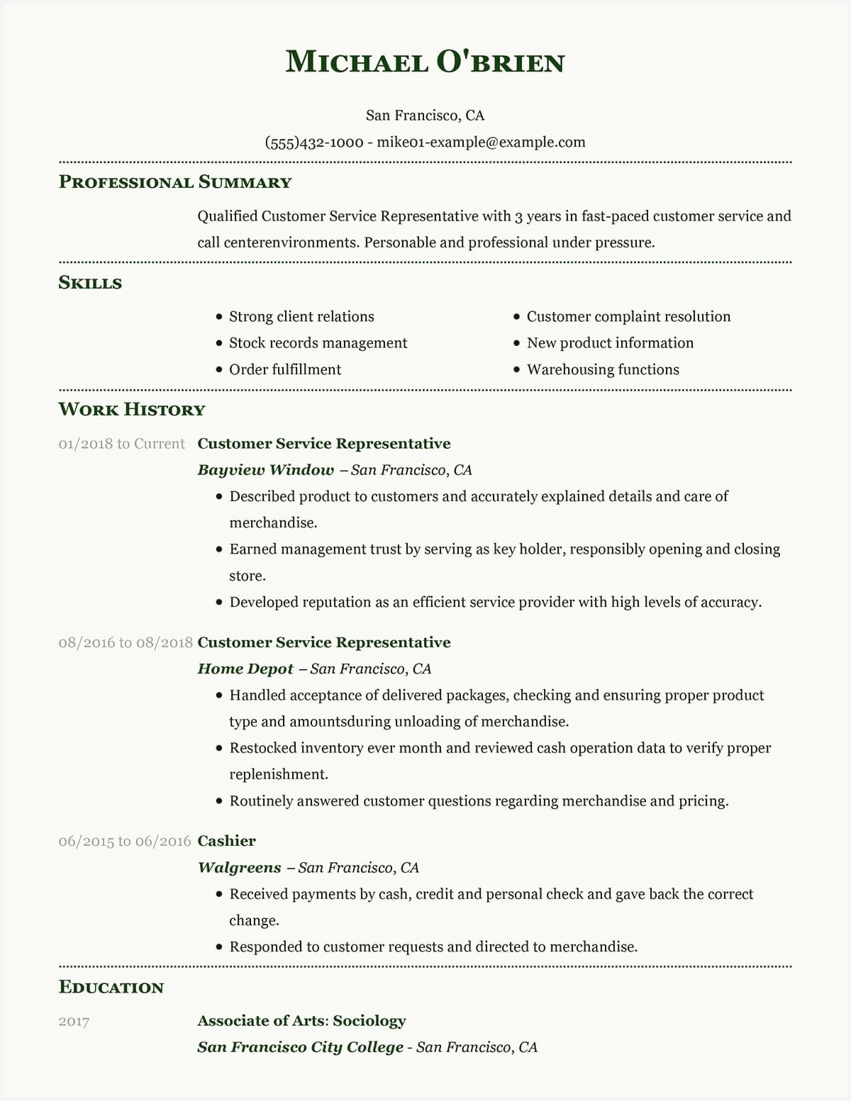 46 Example Resumes for Customer Service Representative