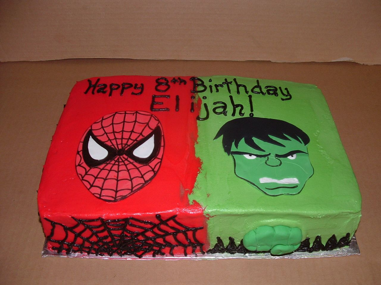 Spiderman Hulk Cake Butter Cream Icing With Fondant