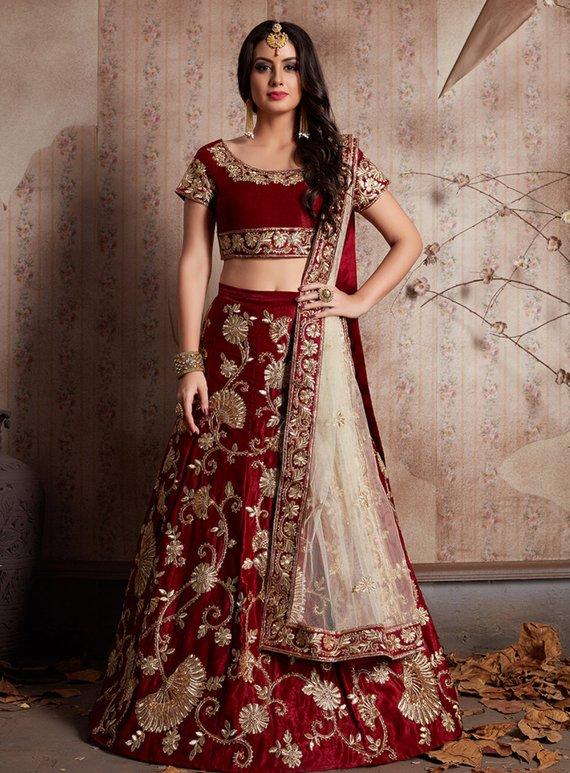 abacb0e5f83 Bridal Wear Maroon Velvet Silk Zari Embroidery Work Lehenga Choli ...