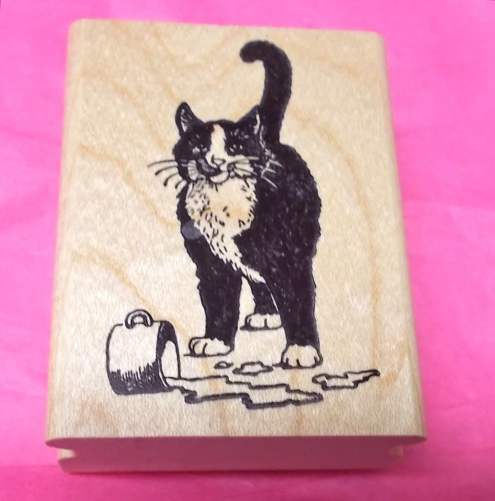 Stamp Magic Cat Rubber Stamp Drinking Milk Spilled Cup Humor