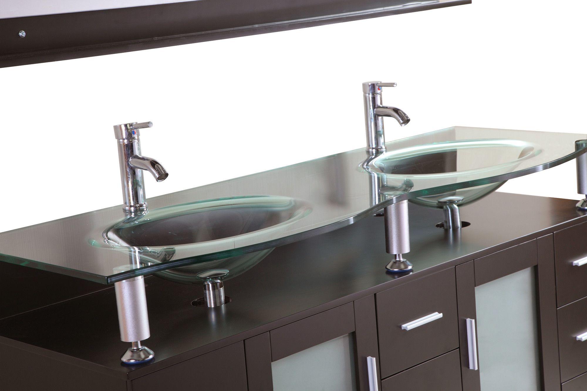 """60"""" Double Bathroom Vanity Set with Mirror -"""