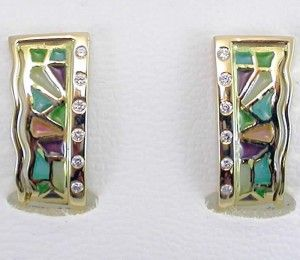 EARRINGS : yellow gold, 12 diamonds 0,14 ct. and enamels. size: 20 x 9  mm. 05MA0067