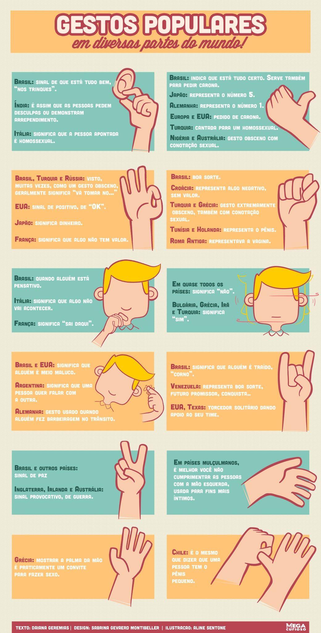 Se você é do tipo que fala com as mãos, é bom saber que alguns gestos representam coisas diferentes em outros países. Fique esperto e evite problemas quando não estiver em território tupiniquim!