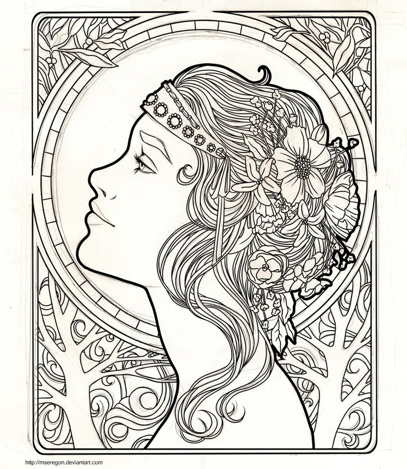 Lovely Alphonse Mucha Coloring Pages