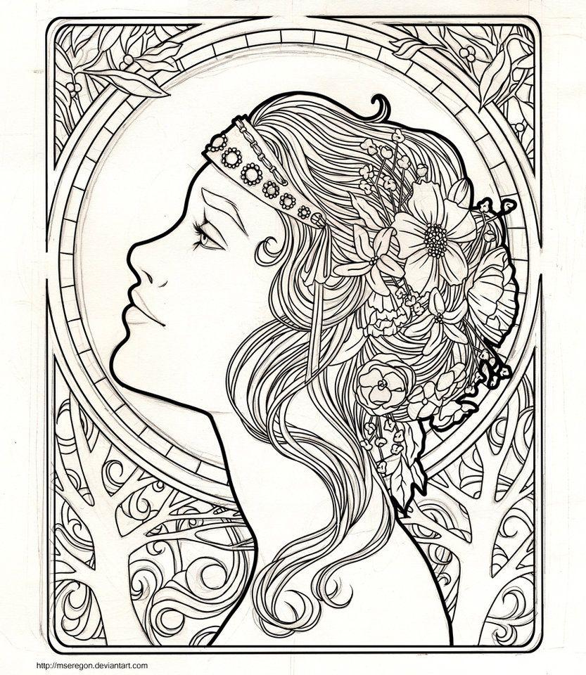 Wip Art Nouveau Coloring Pages Colorful Art Art Nouveau Design