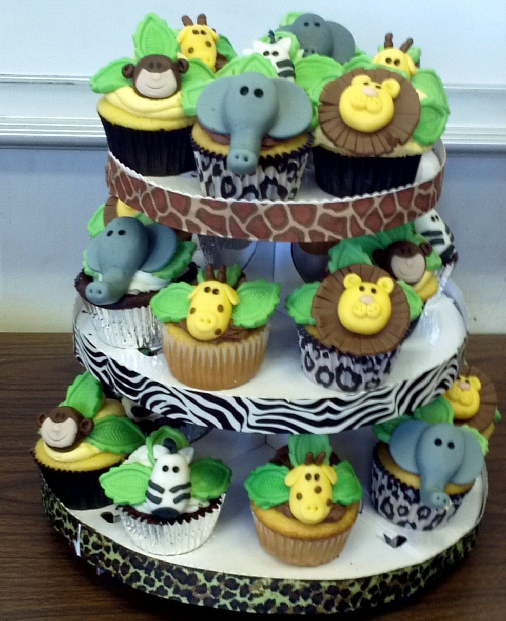 Safari Themed Baby Shower Cupcakes - Mom to be wanted a safari themed baby  shower.
