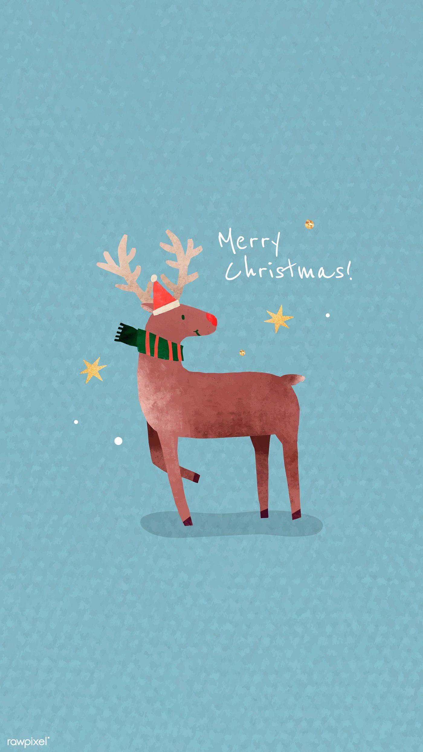Download Premium Vector Of Reindeer With Santa Hat Mobile Phone Wallpaper Christmas Phone Backgrounds Wallpaper Iphone Christmas Cute Christmas Wallpaper
