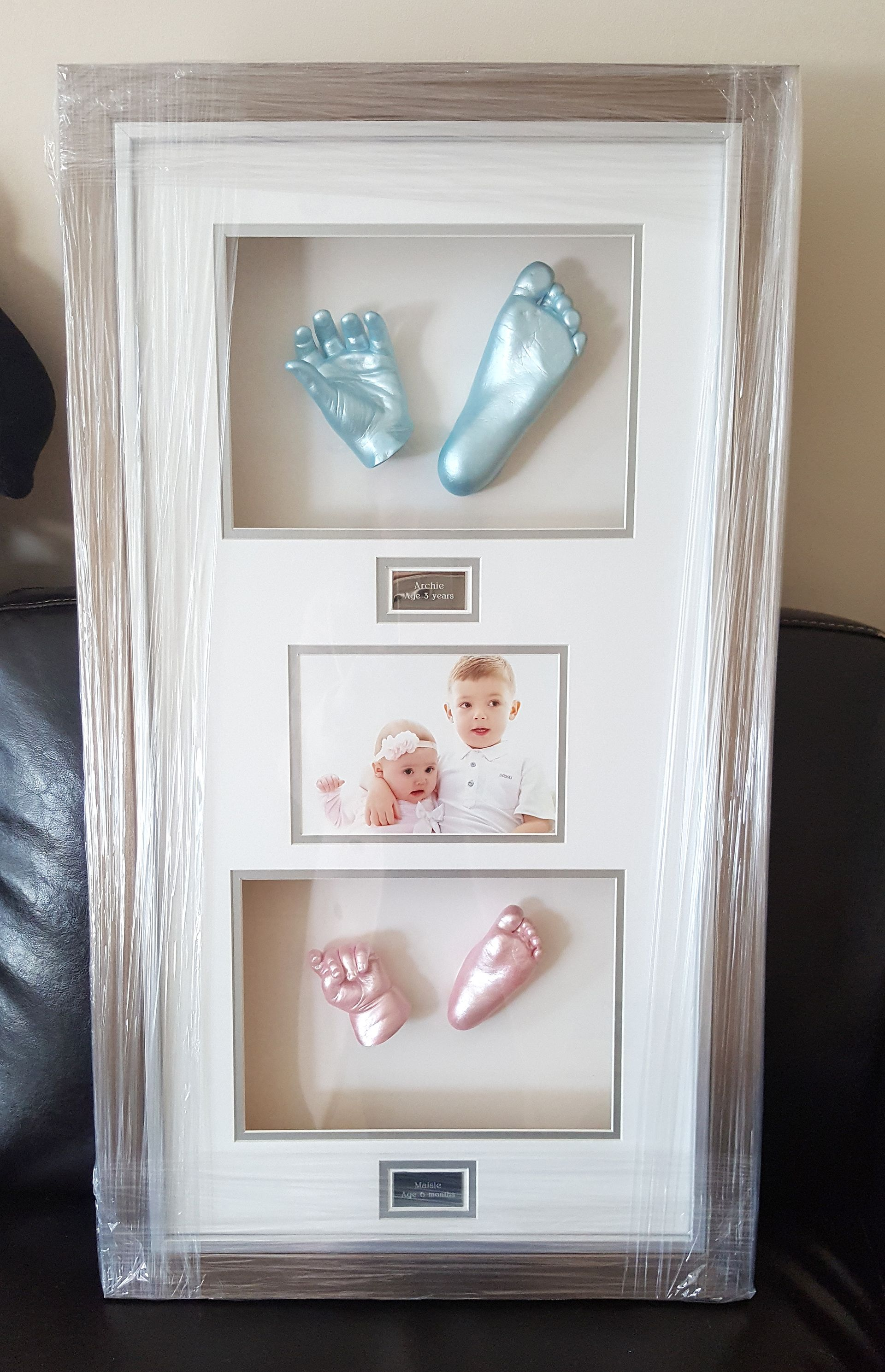 New Baby Casting Kit hand feet imprint 3D plaster casts /& antique silver frame