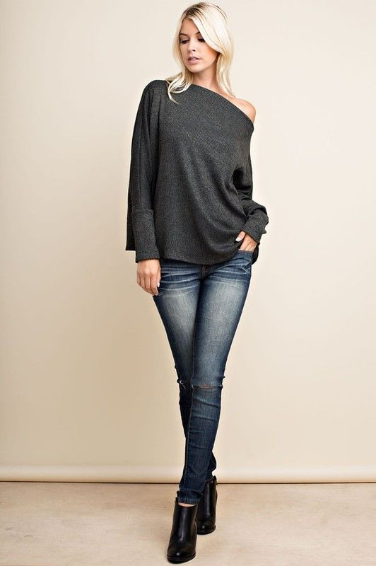 c2224658b3a One Side Off The Shoulder Two Tone Rib Knit Top 60% Rayon 30% Polyester 10%  Spandex