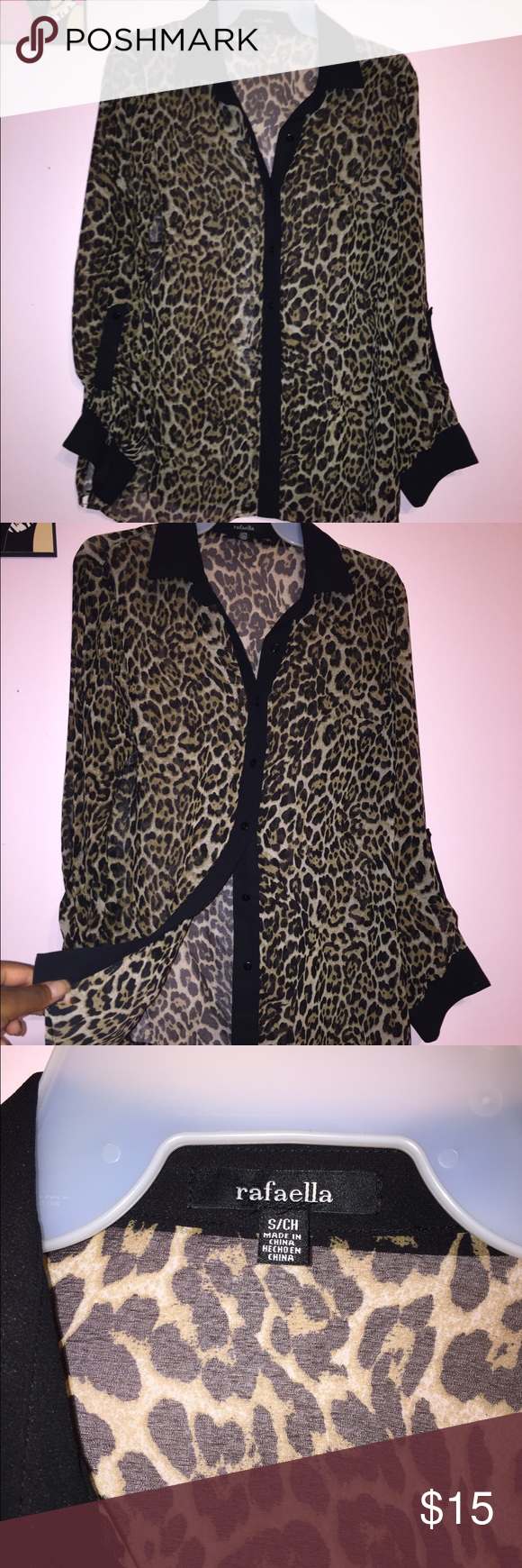 Oversized Cheetah Print Blouse!! Free Shipping!! A classic staple for your closet! Oversized printed Blouse with black collar lining! Very sheer/see through! Sexy and versatile! Will take offers! Tops Button Down Shirts