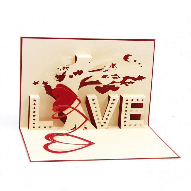 Find More Paper Crafts Information about 10pcs 3D Greeting Card Origami Originality Hollow Out Tree Anniversary Love Folding Red Valentine's Day Blue Gifts Favourite,High Quality card reader usb hub,China carton plate Suppliers, Cheap card holder from Handicraftsman on Aliexpress.com