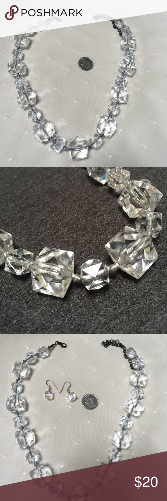 """Acrylic necklace 16"""" with 3"""" extension This listing if for the necklace only but I have the earrings listed as well.  16"""" with 3"""" extension. Jewelry Necklaces"""