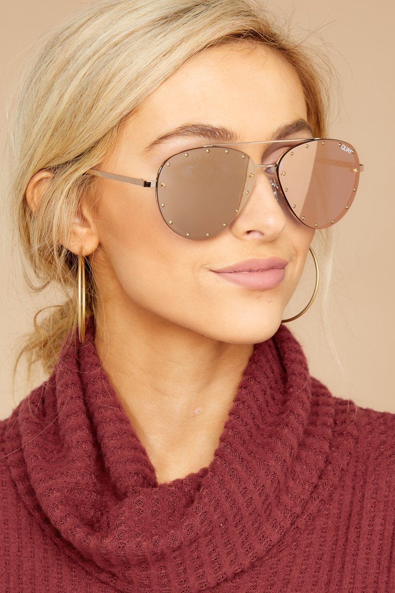 224c3715d790d Quay Australia Roxanne Sunglasses - Gold Rose Aviators - Sunnies -  65 –  Red Dress Boutique