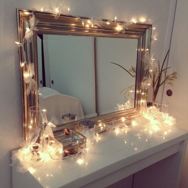 Vanity table with lights around mirror home design for Room decor with fairy lights
