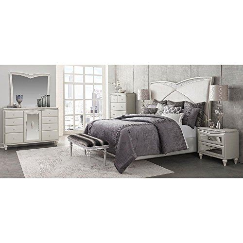 4 Piece Michael Amini Eden S Paradise Poster Bedroom Set: Aico Amini Melrose Plaza Queen Upholstered 5 Piece Bed, 2