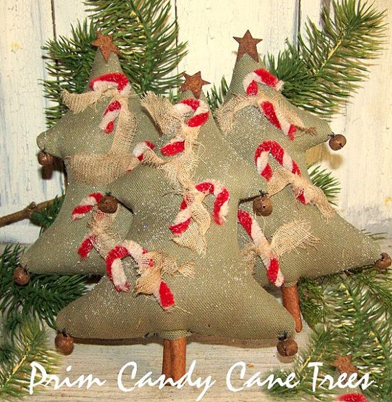 Primitive Christmas Tree with Candy Canes Bowl by harvestmoonprims